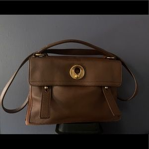 YSL Muse 2, brown leather with brown canvas bag